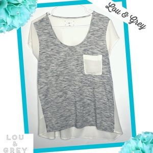 LOU & GREY Burnout Style Pocket Blouse